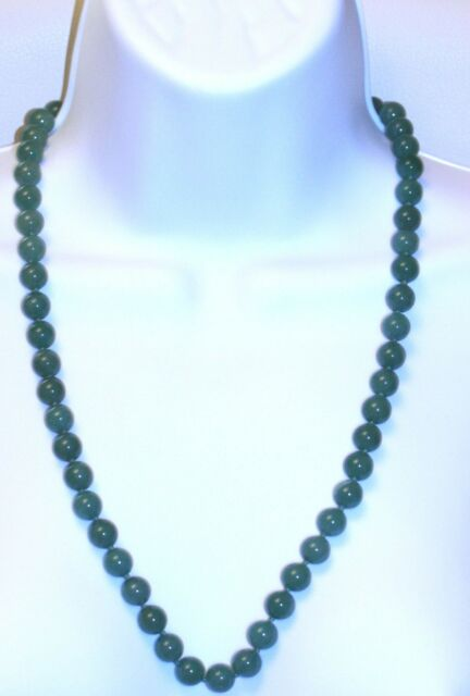 "vintage NECKLACE 25"" HAND KNOTTED SMALL OLD ANTIQUE 54 JADE BEADS 6mm beautiful"