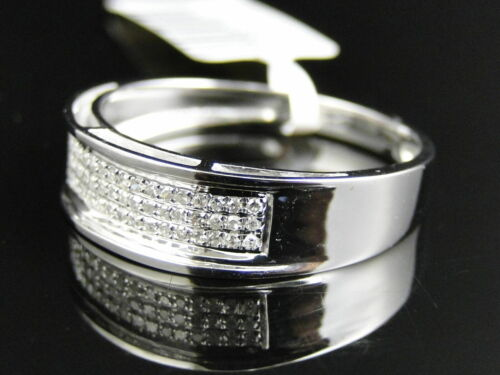 0.30Ct Diamond Mens Pave 6 MM Wedding Engagement Band Ring 14k White Gold Over