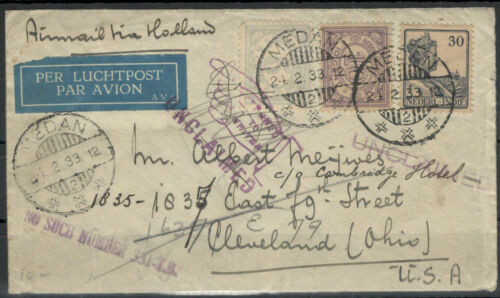 Dutch India Airmail Letter after Cleveland 24.2.33 Retourniert 845034