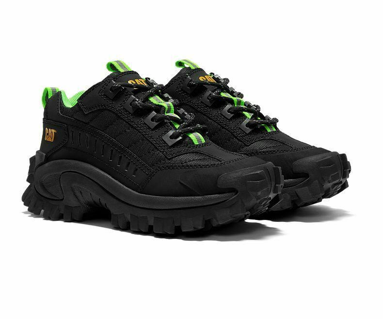 OG CATERPILLAR CAT INTRUDER CHUNKY SOLE TRAINERS, UK9, BLACK GREEN, 07560674