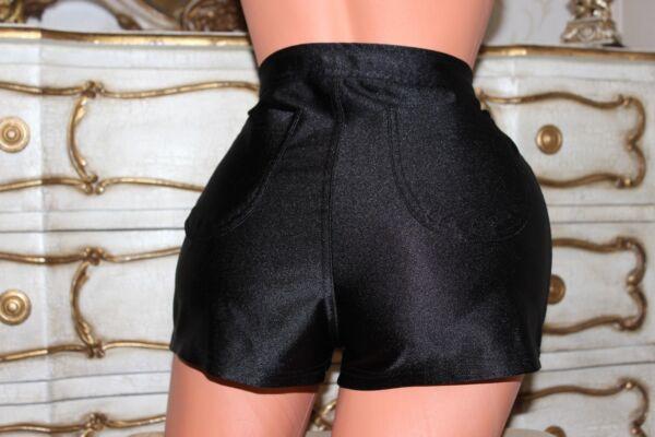 (17) Negro Brillante Wet Look Señoras Pantalones Cortos/shorts Tamaño 10-12-ver Vivo Y Grande En Estilo