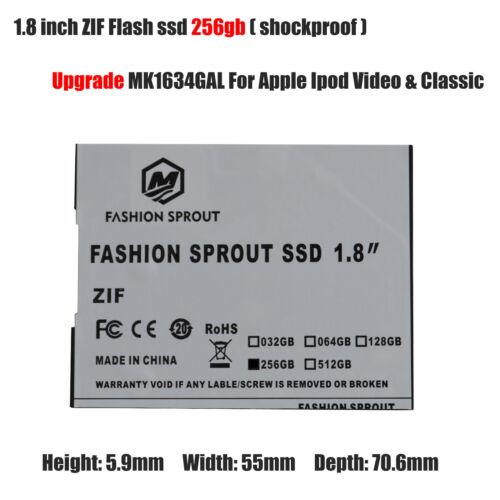 256GB SSD Flash Replace TOSHIBA MK1634GAL 160GB HDD For IPOD 7th Gen Classic