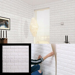 3d brique tanche autocollant mural panneaux papier peint blanc 60 60cm ebay. Black Bedroom Furniture Sets. Home Design Ideas