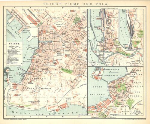 Fiume und Pola Stadtplan Italien B14 Historische Stadtkarte 1898: Triest