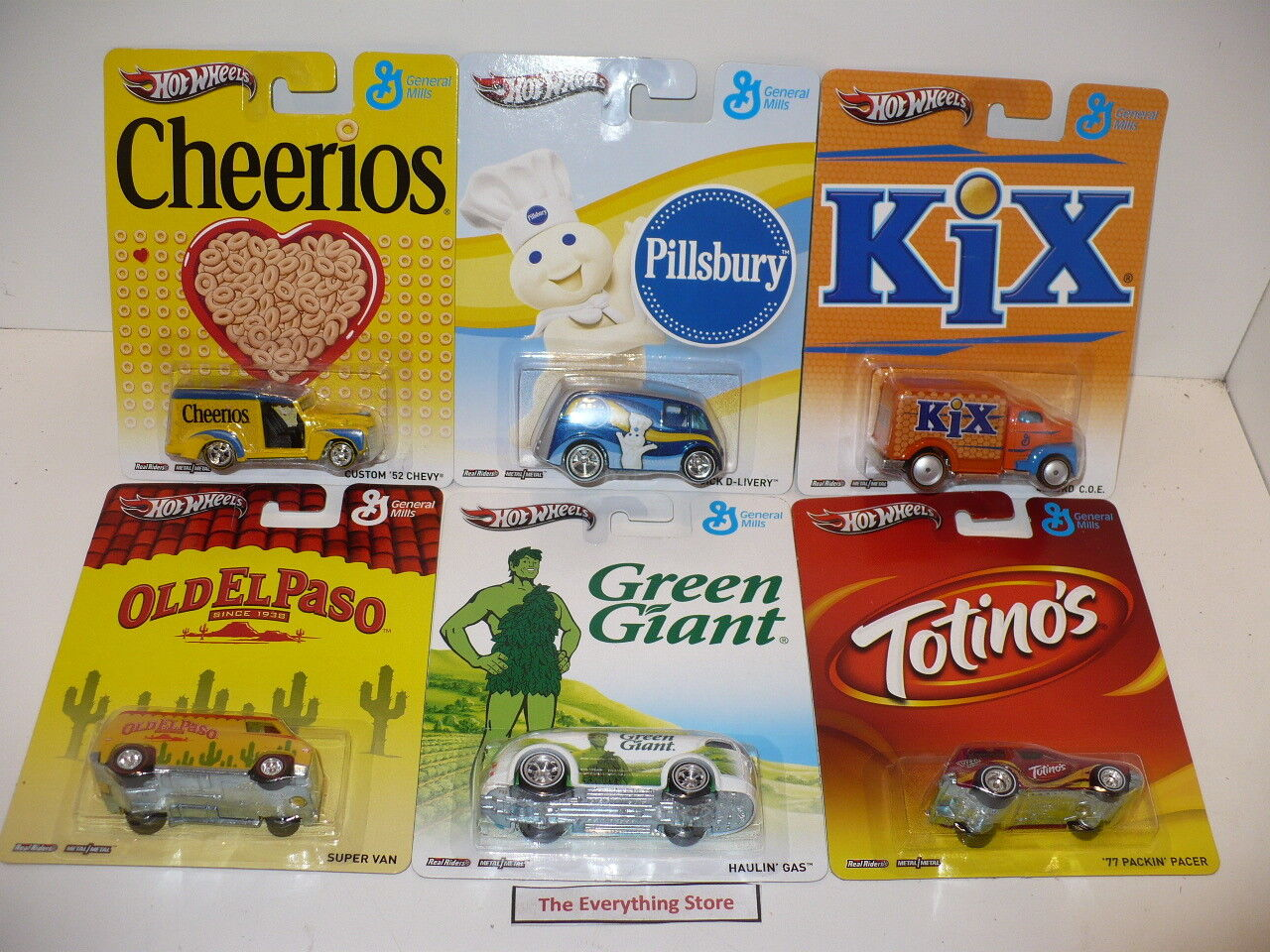 HOT WHEELS COMPLETE SET OF 6 GENERAL MILLS REAL RIDERS CHEERIOS KIX GREEN GIANT