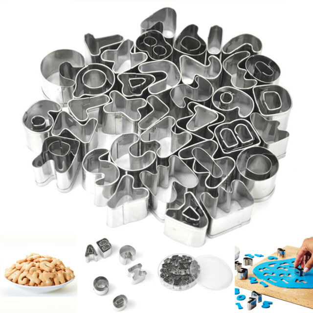 37pcs Cookie Cutter Set Stainless Steel Alphabet Number Molds Cake Fondant Tool