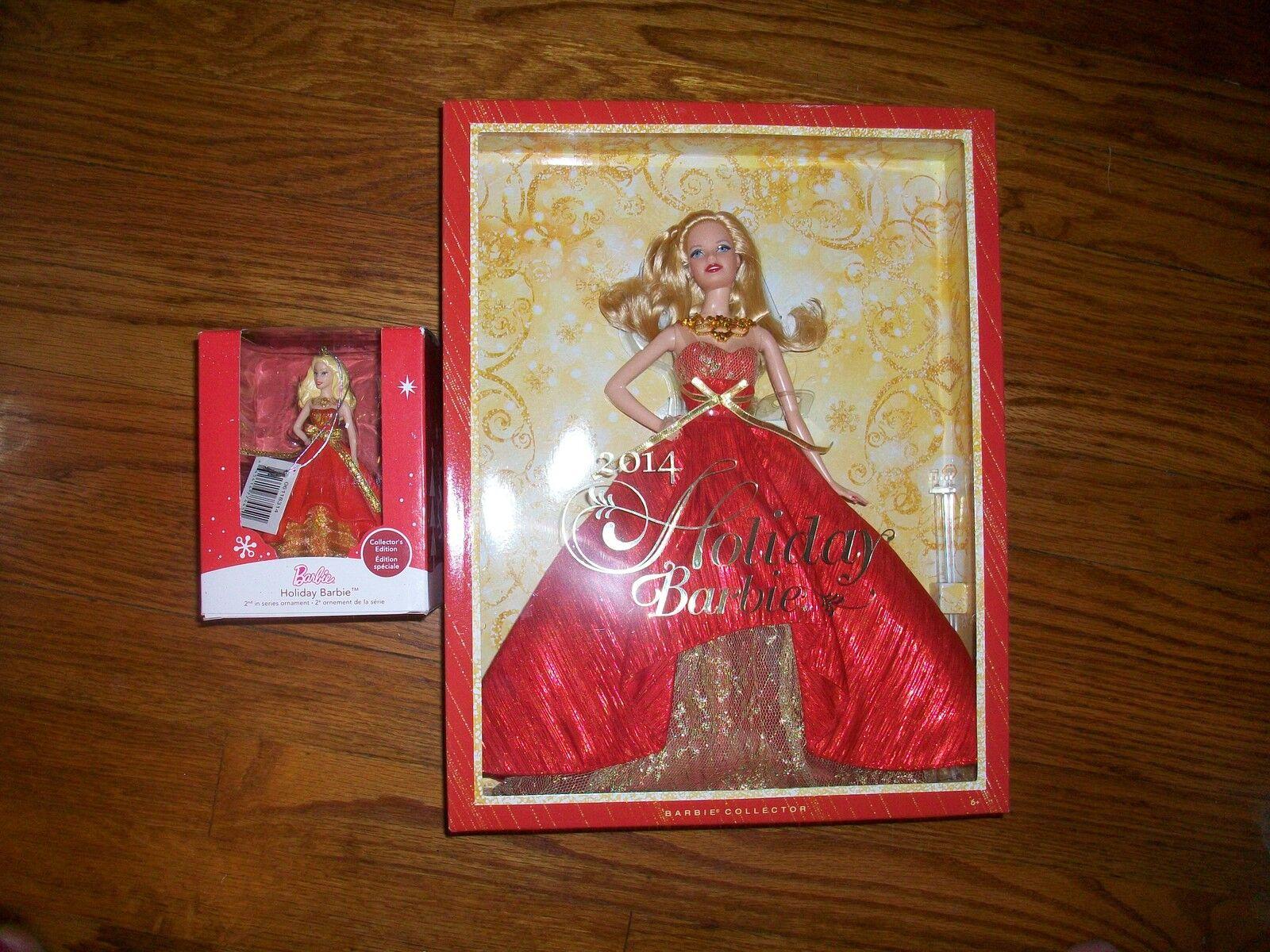 Lote de 2 2014 Vacaciones Barbie Rubia & 2014 Barbie Ornamento