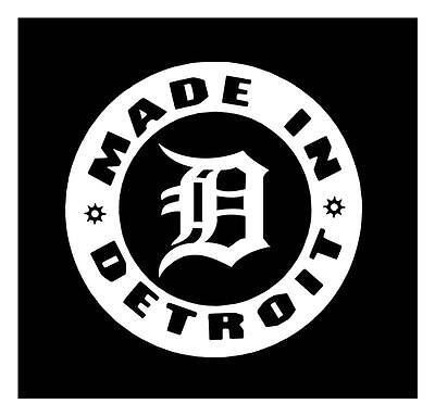 """Detroit D White Decal is 16/"""" in size"""
