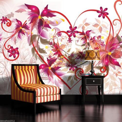 Poster fottapeten papier peint la fresque papier peint photo coeur fleurs d/'ornement 698 p8