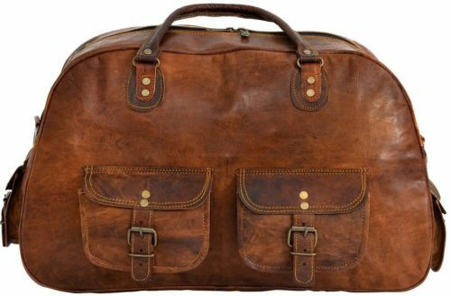 """16/"""" Men/'s Vintage Leather Duffel Overnight Carry-On Luggage Suitcase Brown Bag"""