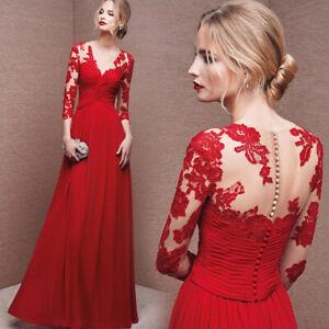 Sexy Chiffon Spitze Ballkleid Abendkleid Partykleid Kleid Rot 3 4 Armel Bc292 Ebay