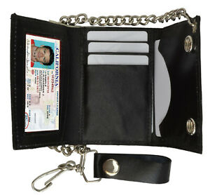 Black-Men-039-s-Genuine-Leather-Biker-039-s-Metal-Chain-Wallet-Trucker-Motorcyclist