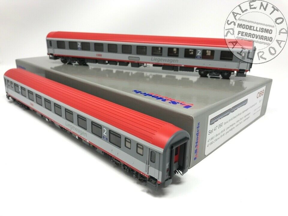 L.S. Models 47060 set two carriages bunks OBB Bcmz 59-90 grey red Period V