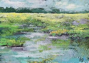 """ACEO ATC Signed Print Sunset Marsh """"Day's End"""" Small Art Artist Trading Card"""
