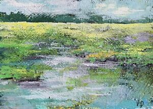 Original-Aceo-ATC-Painting-Abstract-Marsh-Seascape-Art-Trading-Card-Signed