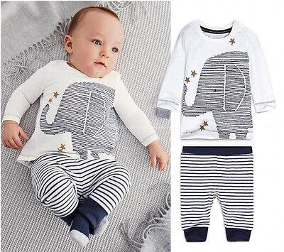 Newborn Baby Kids Boys Clothing Elephant Long sleeve Tops Pants Outfits 0~24M