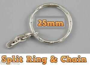 25mm-Anello-Portachiavi-amp-catena-chiave-portachiavi-ROUND-ANELLO-PORTACHIAVI-CHIAVI-Fibbia-10-a