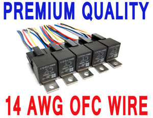 Details about 5 pk - PREMIUM 40 AMP 5-PIN RELAYS & WIRE HARNESS SPDT on