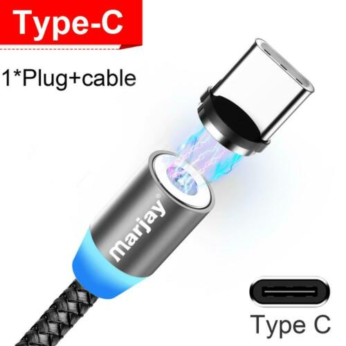 Cable USB Charger Magnet Lightning Type C//Micro LED For IPHONE Samsung Xiaomi