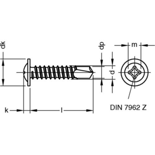 angepresster Scheibe Linsenkopf M-H Bohrschraube DIN 7504 Stahl galv verz