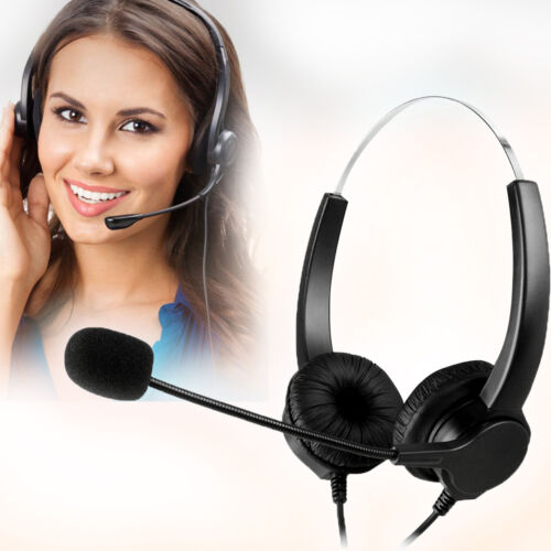 Mic Hands-free Call Center Noise Cancelling Corded binaural Headset Headphone