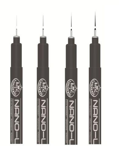 4 Black Tinte Nano Fein Liner 0.1 0.2 0.3 0.5mm Schreibfedern Kunst Zeichnung