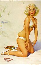 Vintage Pin Up Girl Poster//Art Print//Girl Washing Hair in Bathing Suit// 13x19