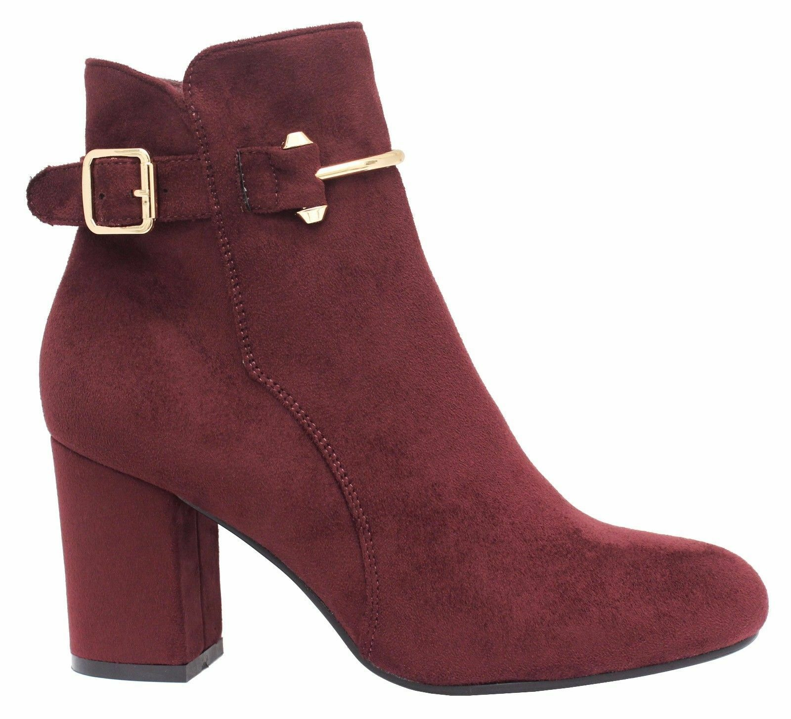 31b9c421e5b1f Ladies Womens Mid High Block Heels Buckle Casual Chelsea Ankle Boots ...