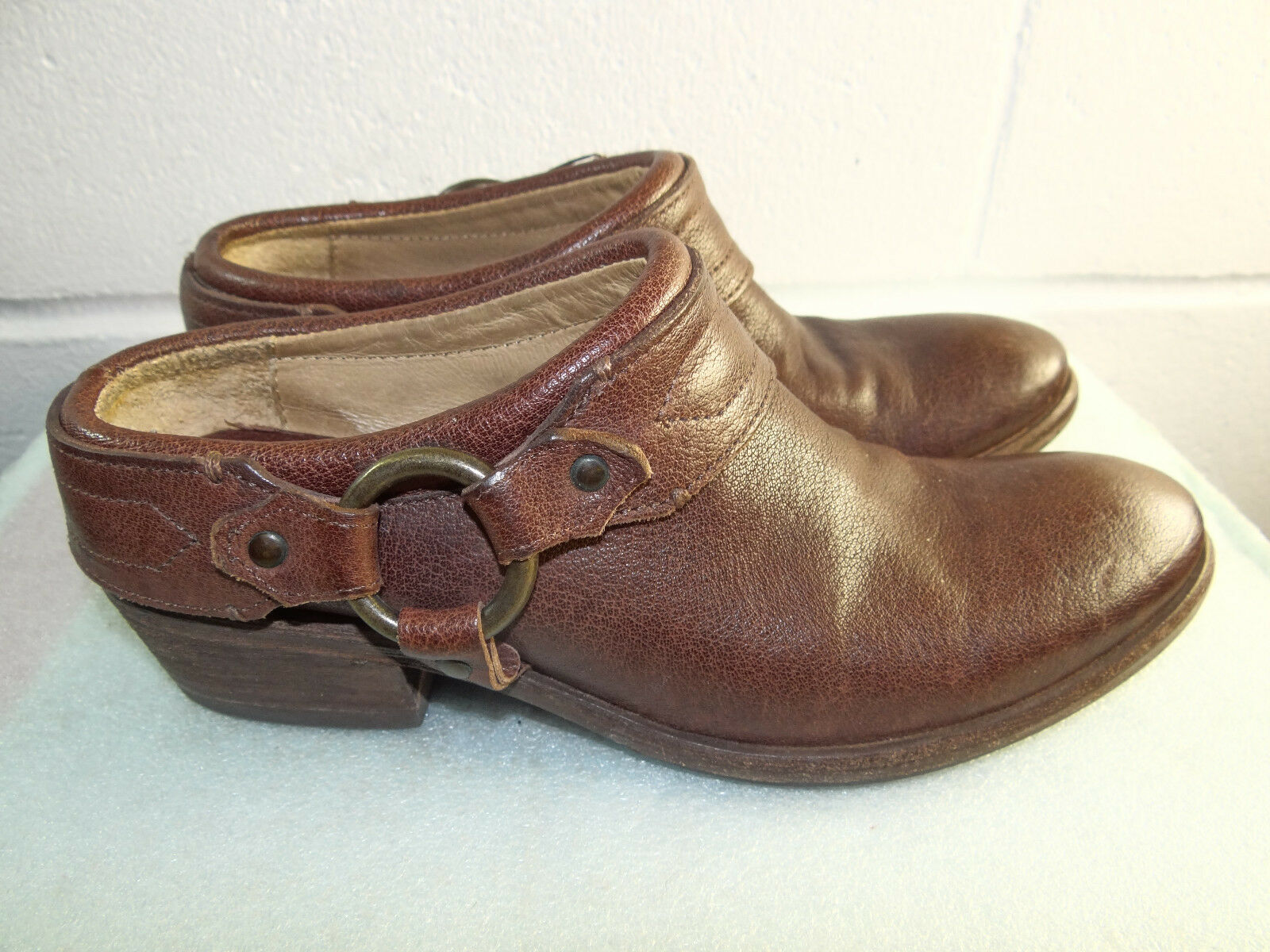 FRYE Brown Leather Harness Mule Clog Women Size 6.5B Made in MEXICO