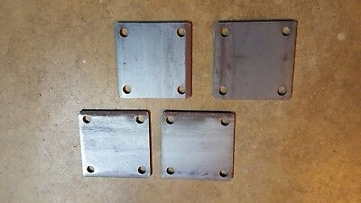 """3/""""×3/"""" × 1//8 square metal base plate with 3//8 holes weld on post QTY 10"""
