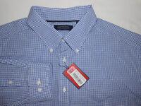 Roundtree & Yorke Trademark Mens L/s Blue Checkered Casual Shirt 2xt