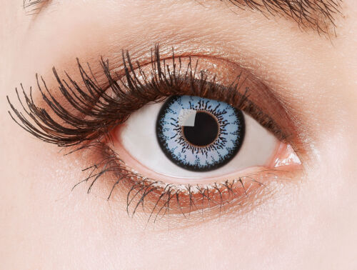 Kontaktlinse The Blue Wonder blau grau Motivlinsen farbig Halloween Karneval