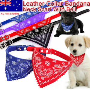Adjustable Leather Collar Bandana Neck Scarf Dog Puppy Cat Kitten Melbourne