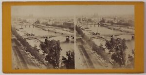 Panorama Da Parigi Su La Senna Francia Foto Stereo Vintage Albumina c1868