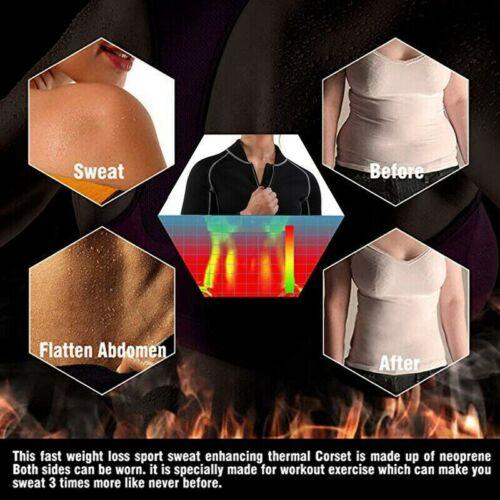 US Women/'s Neoprene Long Sleeve T-Shirt Sauna Full Zip Up Body Shaper Suit Tops