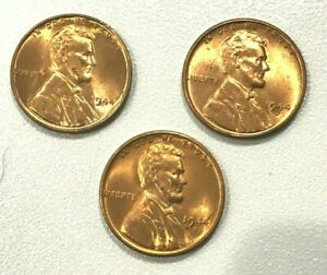 1944-P-D-S-NICE-Red-Uncirculated-Lincoln-Wheat-Cent-Pennys