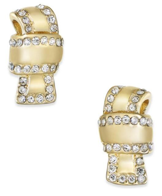 Kate Spade Gold All Clear Pave Knot Bow Stud Earrings Ksd20
