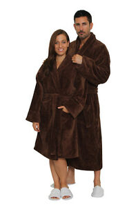 Brown 100% Cotton Women Mens Robes Full & Knee Length personalizable Shawl Robe