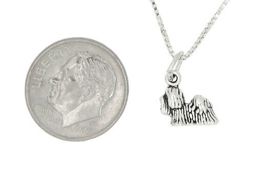 Sterling Silver Petite Shih Tzu Dog Charme Collier Pendentif