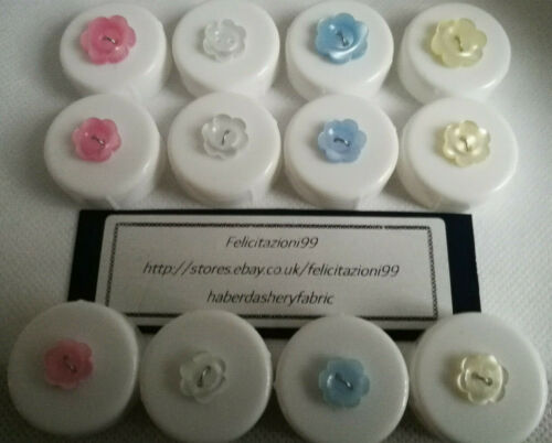 Flower buttons shaped 2 hole in 4 colours and 3 sizes Novelty