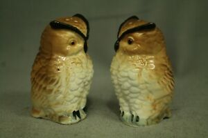 Vintage-ceramic-Owl-bird-salt-and-pepper-shakers-S-amp-P-figurines-3-034