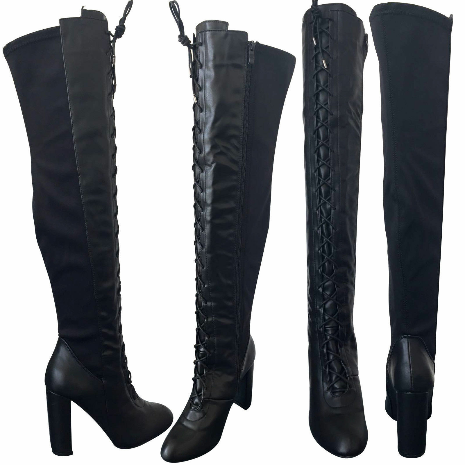 WOMENS LADIES SEXY LACE UP THIGH HIGH OVER THE SIZ KNEE BLOCK HEEL BOOTS SIZ THE 3-8 lot 729c50