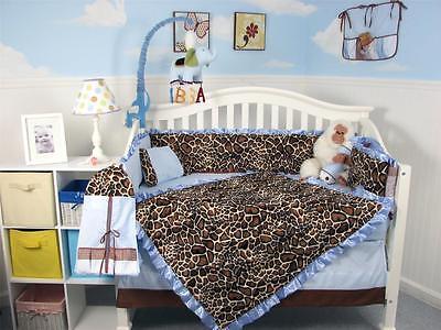 Soft Blue Giraffe Minky Baby Crib Bedding 13 pcs Set included Diaper Bag