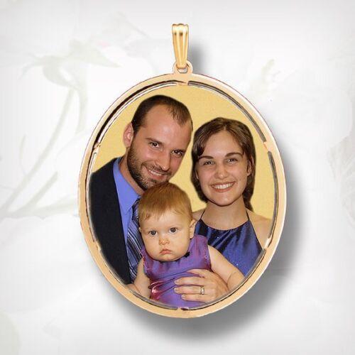 Or 14k ovale personnalisé cadeau pour sa photo Collier photo Pendentif Charme