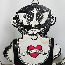 """RARE Vtg c1940 Comic Flexing MUSCLE MAN 16"""" Pull String Puppet Paper Toy ☆Tattoo"""