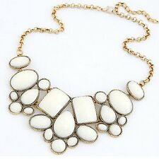 RF Vintage Gold Plated Chain White Stone  Statement Necklace Choker