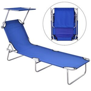 Miraculous Details About Foldable Lounge Beach Bed Camping Recliner Chair W Canopy Outdoor Chaise Tool Uwap Interior Chair Design Uwaporg