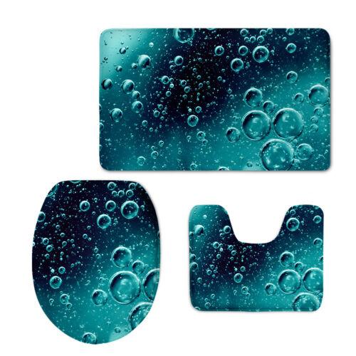Water Design Bath Mat Set Pedestal Blanket 3 Pcs Soft Durable Floor Carpet Rug