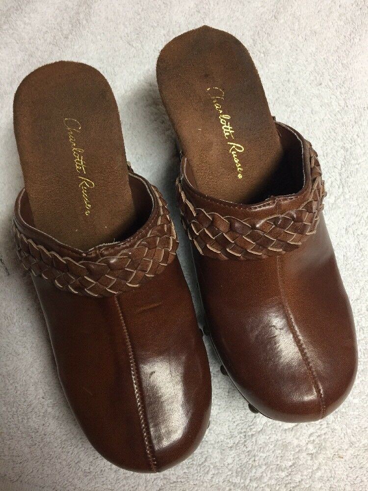 Charlotte Russe Women's Heels Brown Slip On Wedge Heels Women's Mules Casual Shoes Size 6 M b 4102d8