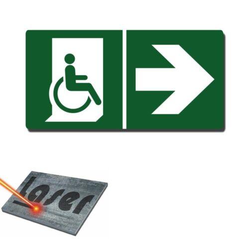 """Plaque gravée autocollante 30x15 cm /""""Issue handicapé droite/"""" fond vert"""